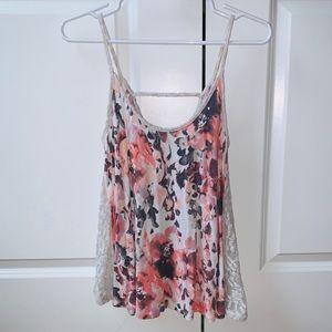 UO Kimchi Blue Floral Watercolor Lace Flowy Tank
